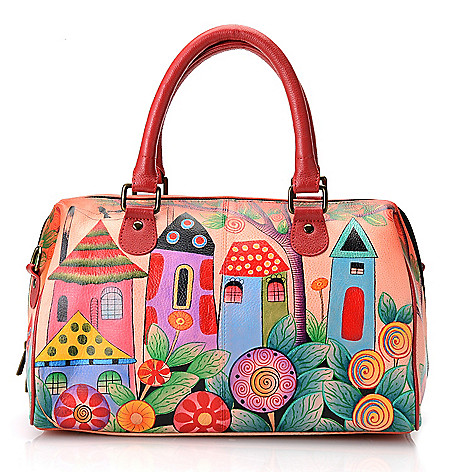 704-669 - Anuschka Hand-Painted Leather Satchel Handbag