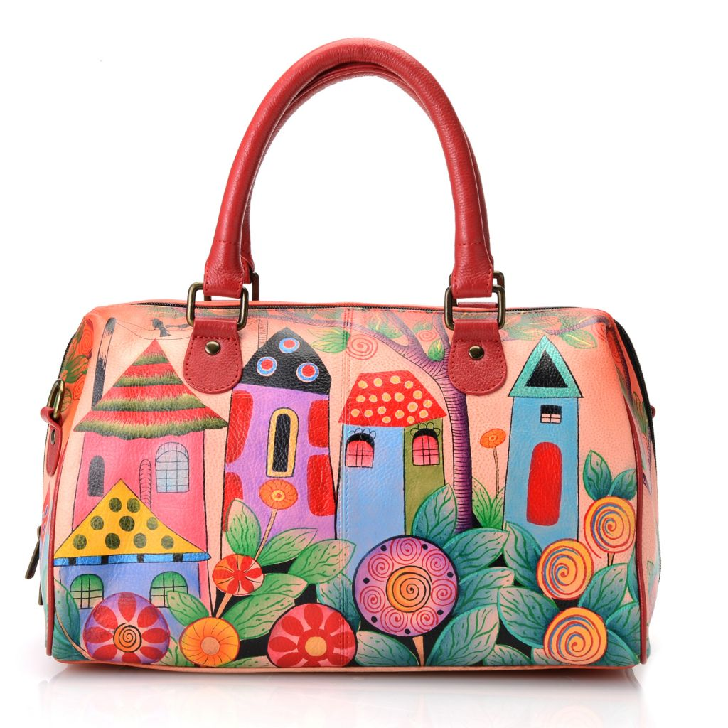 704-669 - Anuschka Hand-Painted Leather Barrel Satchel w/ Shoulder Strap