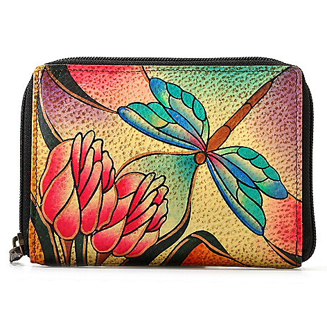 704-670 - Anuschka Hand-Painted Leather Zip Around Wallet