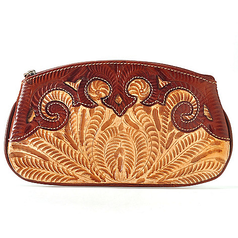 704-699 - American West Hand-Tooled Leather ''Hidden Treasures'' Accessory Case