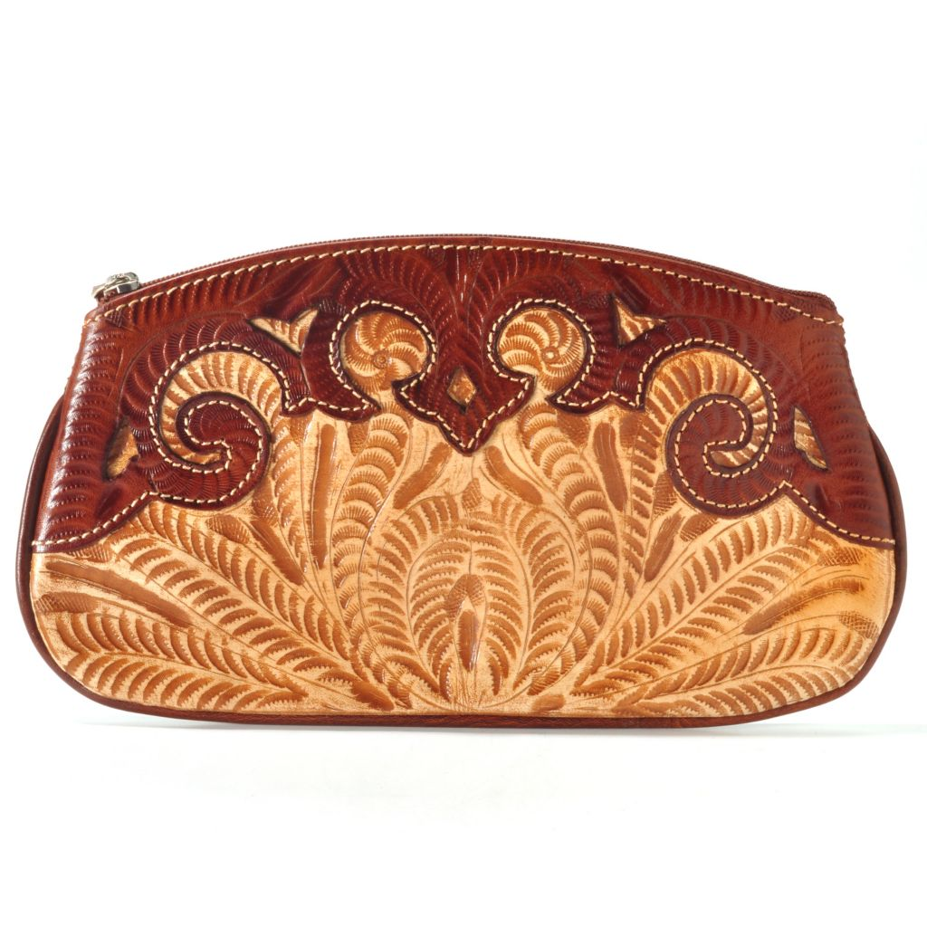 "704-699 - American West Hand-Tooled Leather ""Hidden Treasures"" Accessory Case"