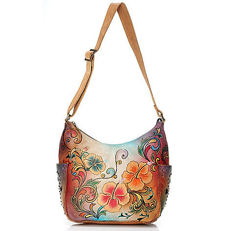 705-222 - Anuschka Hand-Painted Leather Zip Top Hobo Handbag