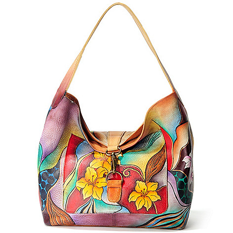 705-224 - Anuschka Hand-Painted Leather Fold Over Slouch Bag