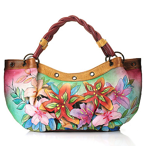 705-226 - Anuschka Hand-Painted Leather Double Rope Handle Hobo Handbag