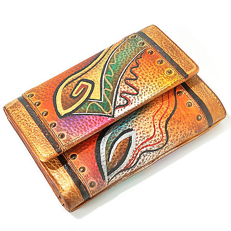 705-229 - Anuschka Hand-Painted Leather Three Fold Ladies Wallet