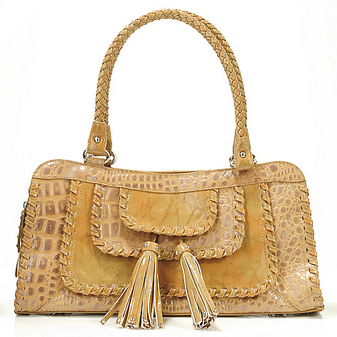 705-843 - Madi Claire Croco Embossed Leather ''Rivera'' Tassel Detailed Satchel