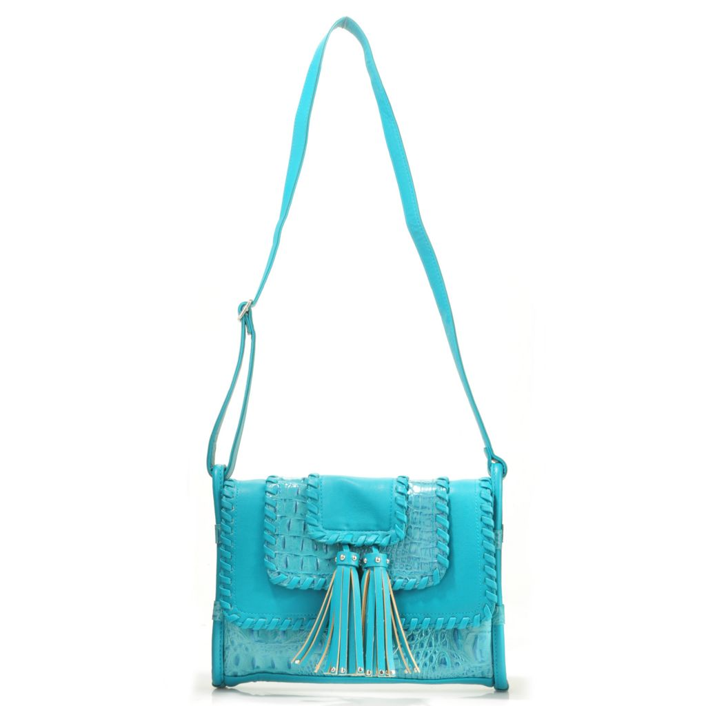 "705-844 - Madi Claire Croco Embossed ""Rivera"" Cross Body Bag"