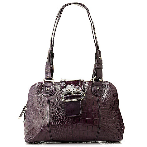 705-857 - Madi Claire ''Carrollton'' Croco Embossed Leather Multi Compartment Dome Satchel