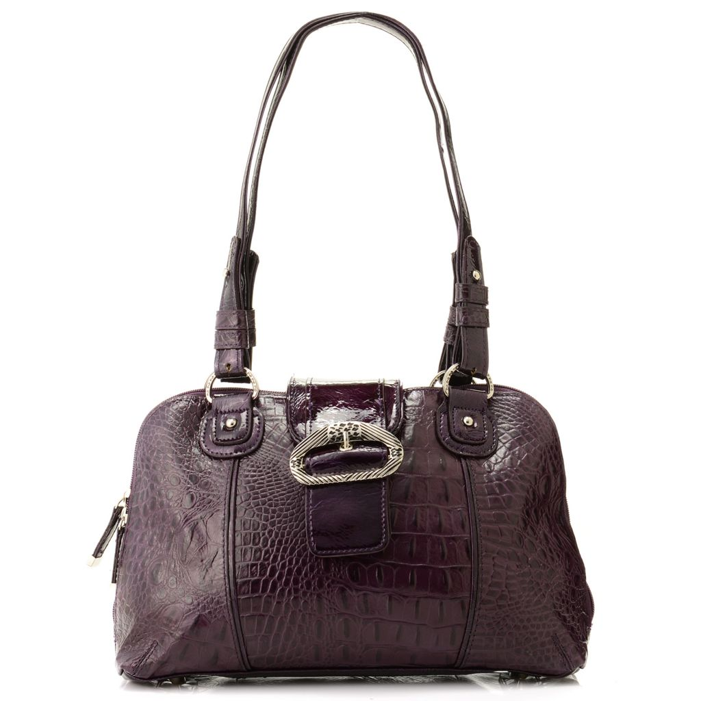 "705-857 - Madi Claire Croco Embossed Leather ""Carrollton"" Dome Satchel"