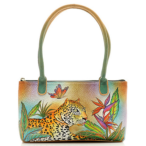 705-913 - Anuschka Hand-Painted Leather Zip Top Small Shoulder Bag