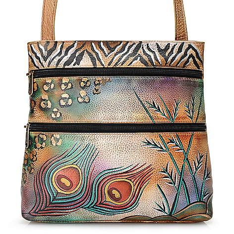 705-917 - Anuschka Hand-Painted Leather Zip Top Travel Organizer Cross Body Bag