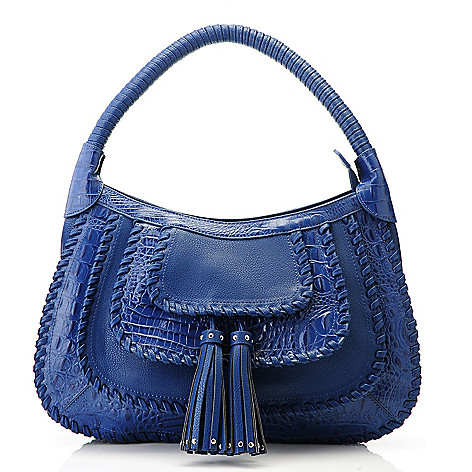 705-937 - Madi Claire Croco Embossed Leather Zip Top Whip-Stitched Hobo Handbag