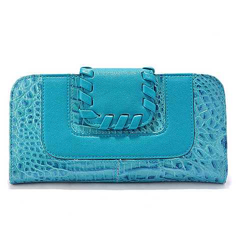 705-938 - Madi Claire Croco Embossed Leather ''Rivera'' Whipstitch Detail Wallet