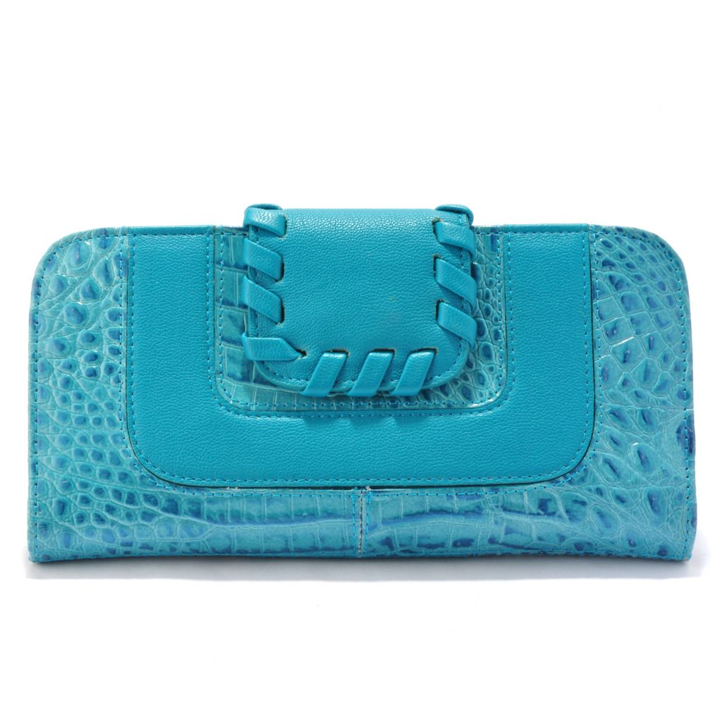 "705-938 - Madi Claire Croco Embossed Leather ""Rivera"" Whipstitch Detail Wallet"