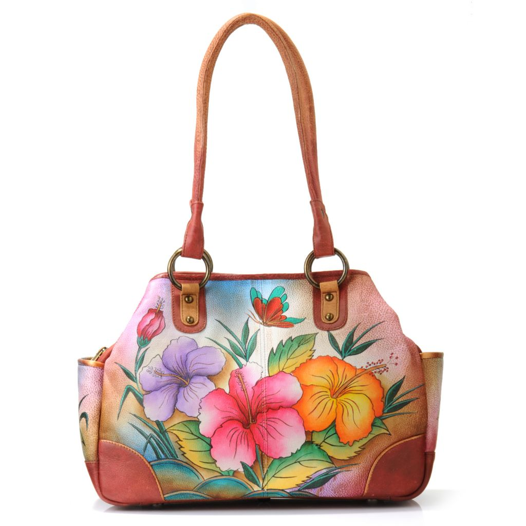 706-072 - Anuschka Hand-Painted Leather Multi Compartment Medium Tote Bag