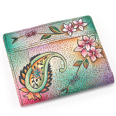 706-178 - Anuschka Hand-Painted Leather Small Pleated Wallet