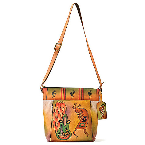 706-274 - Anuschka Hand-Painted Leather Cross Body Bag w/ Luggage Tag