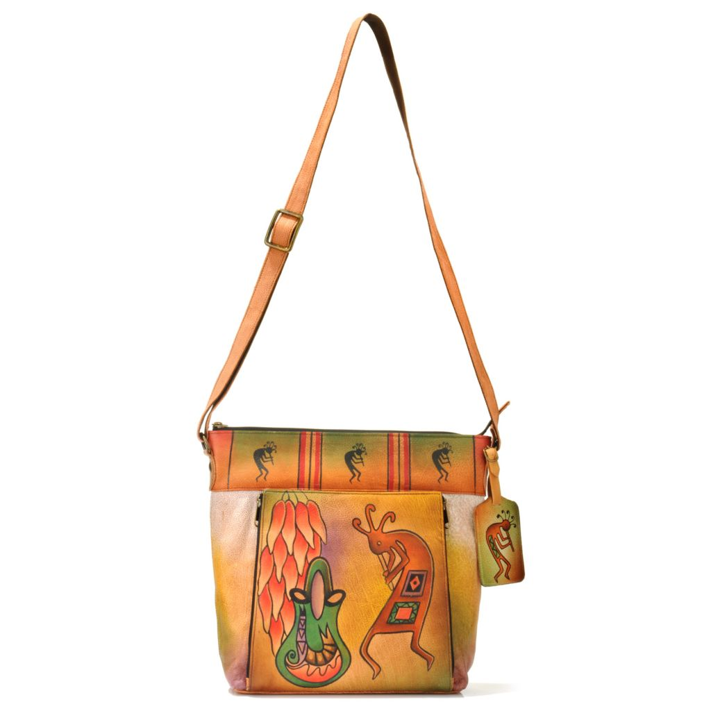 706-274 - Anuschka Hand-Painted Leather Cross Body Handbag w/ Luggage Tag