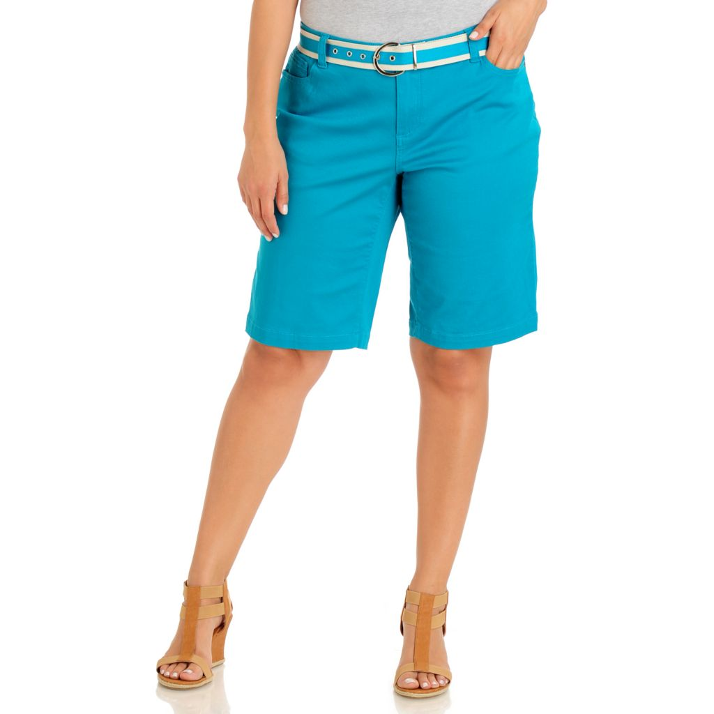 709-200 - Baccini Five-Pocket Colored Denim Shorts w/ Two-tone Canvas Belt