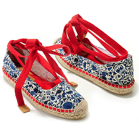 709-204 - Brooks Brothers Cotton Floral Print Removable Lace Espadrilles