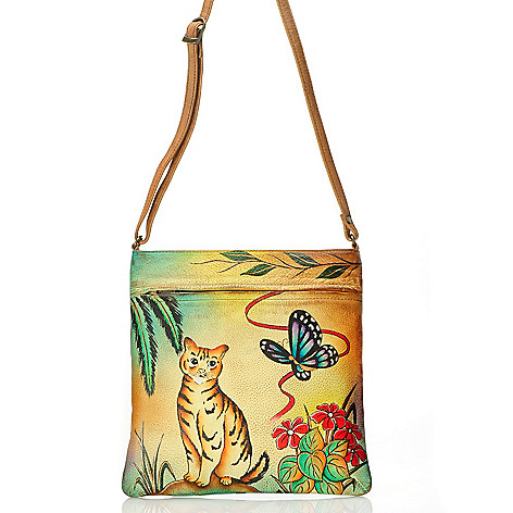 709-216 - Anuschka Hand-Painted Leather Slim Cross Body Handbag