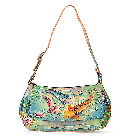 709-218 - Anuschka Hand-Painted Leather Small Zip Top Shoulder Bag