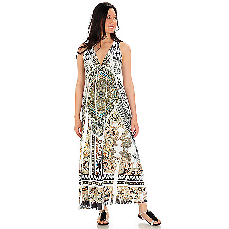 709-230 - One World Printed Knit V-Neck Empire Waist Maxi Dress