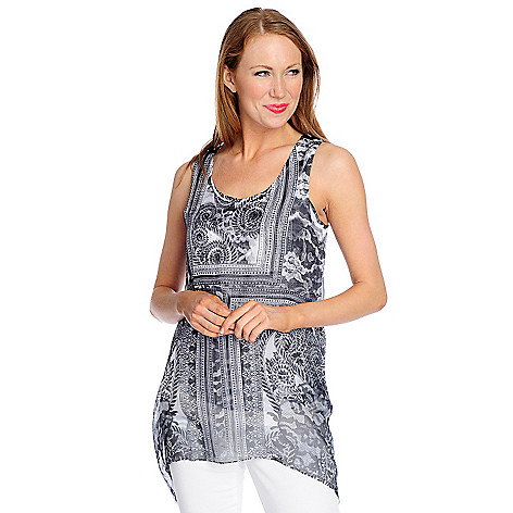 709-233 - One World Chiffon Overlay Back Applique Tank Top