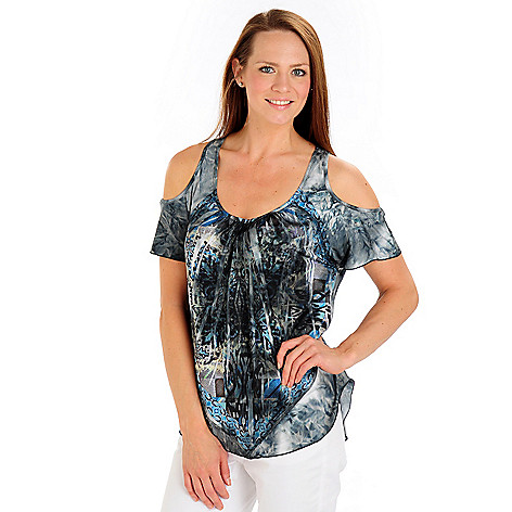 709-249 - One World Backlique Cold Shoulder Tie-Dyed Stretch Knit Top