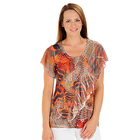 709-252 - One World Printed Knit Flutter Sleeve Scoop Neck Ruffled Top