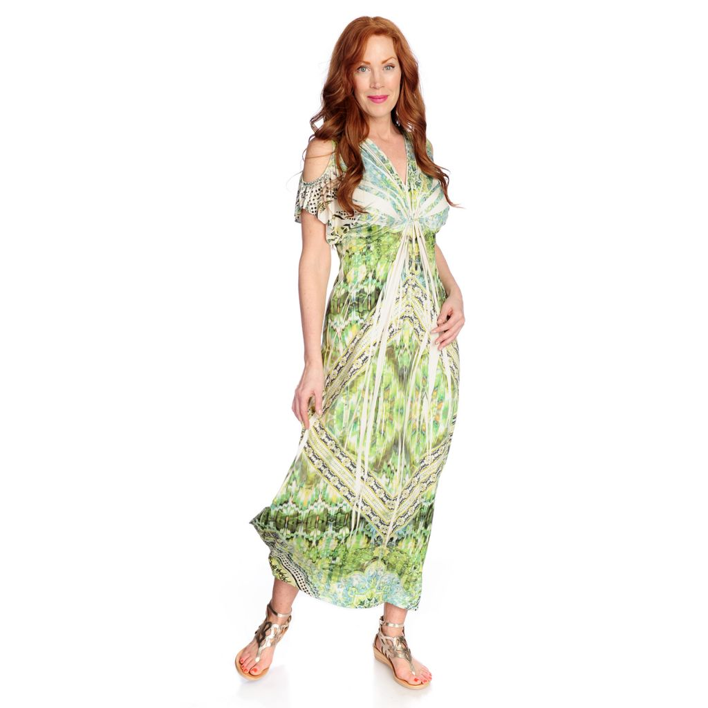709-255 - One World Short Stretch Knit Short Sleeved Cold Shoulder Printed Maxi Dress