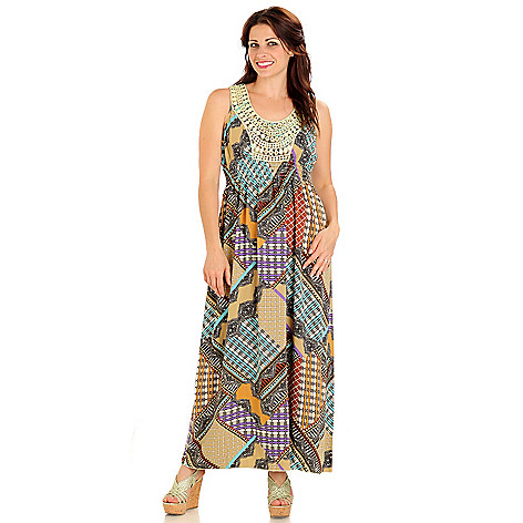 709-259 - One World Challis Crochet Detailed Geometric Print Maxi Dress