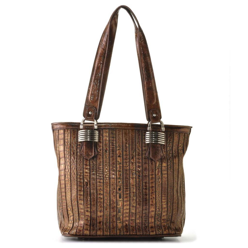 "709-475 - Madi Claire Croco Embossed Leather ""Sienna"" Zip Top Tote Bag"