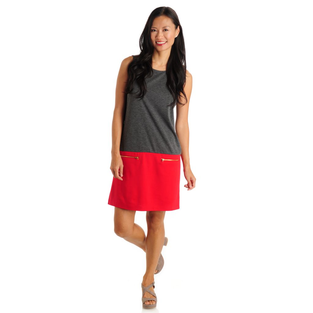 709-489 - Fever Stretch Ponte Sleeveless Colorblock Drop Waist Dress