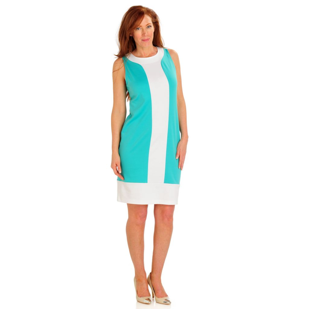 709-490 - Fever Stretch Ponte Sleeveless Color Block Shift Dress