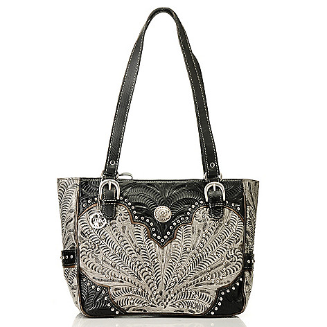 709-505 - American West Hand-Tooled Leather Medallion & Stud Detailed Tote Bag