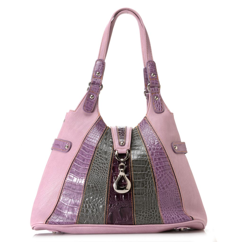 709-541 - Madi Claire Crocodile Embossed Leather Double Handle Striped Hobo Bag