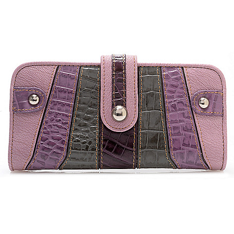 709-544 - Madi Claire Crocodile Embossed Leather Striped Wallet