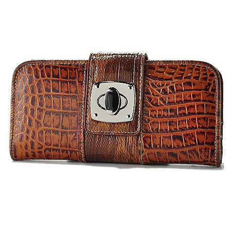 709-547 - Madi Claire ''Reba'' Crocodile Embossed Turnlock Leather Wallet