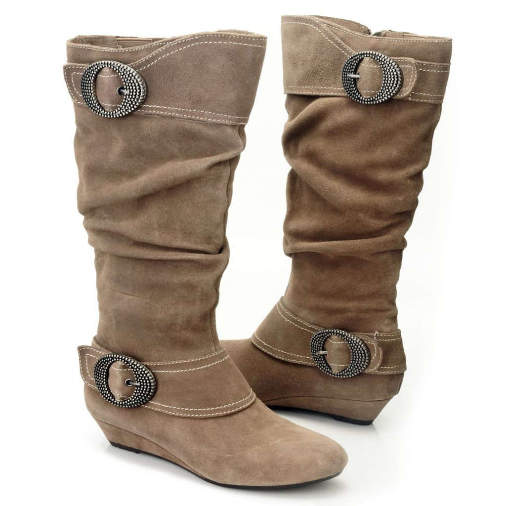 709-561 - Dr. Scholl's® Suede Leather Buckle Detail Slouch Boots