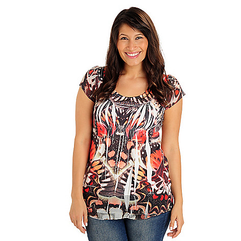 709-564 - One World Chiffon Flutter Sleeves & Hem Stretch Knit Printed Top