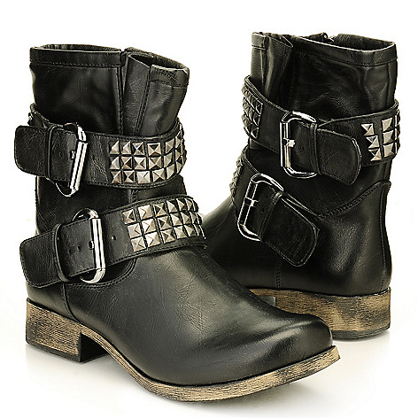 709-581 - MIA ''Crusader'' Studded Buckle Ankle Boots