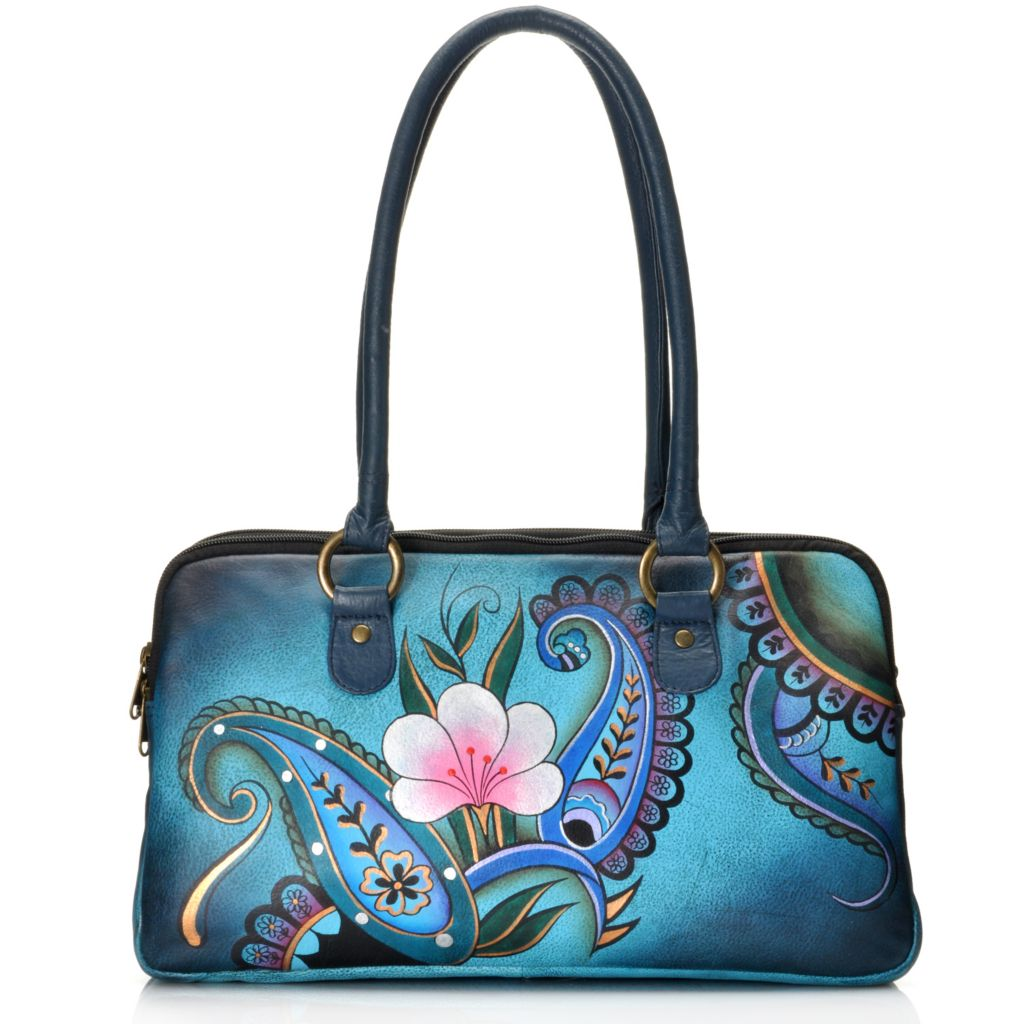709-587 - Anuschka Hand-Painted Leather Multi Compartment Satchel