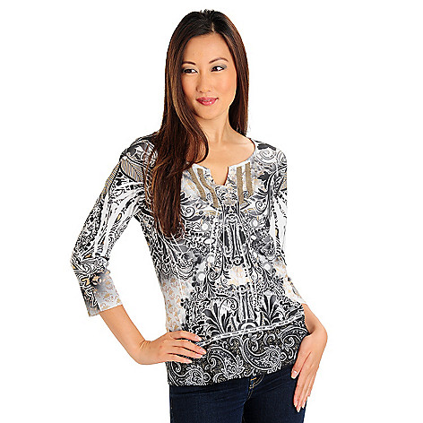 709-674 - One World 3/4 Sleeved Lace Trim Scoop Neck Notch Yoke Top