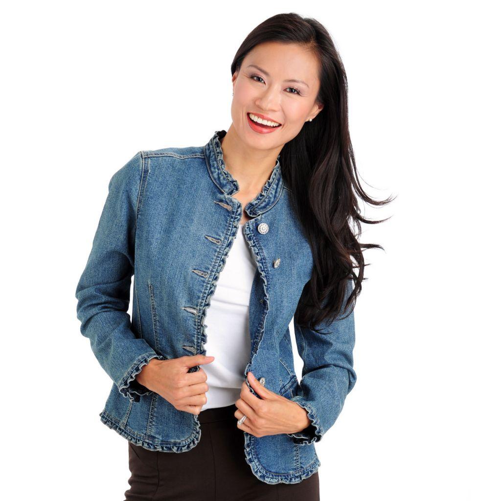709-678 - OSO Casuals Stretch Slub Twill Decorative Button Ruffle Trimmed Denim Jacket