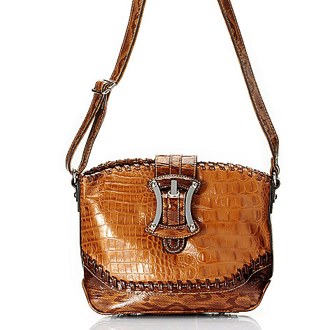 709-705 - Madi Claire Crocodile Embossed Leather Flap-Over Buckle Detailed Cross Body Bag