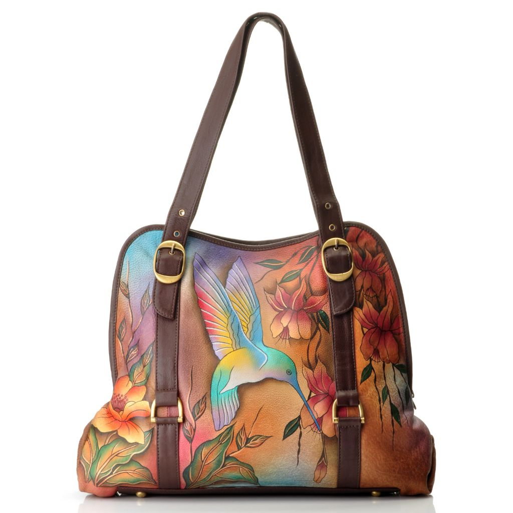 709-739 - Anuschka Wide Entry Hand-Painted Leather Large Tote Bag