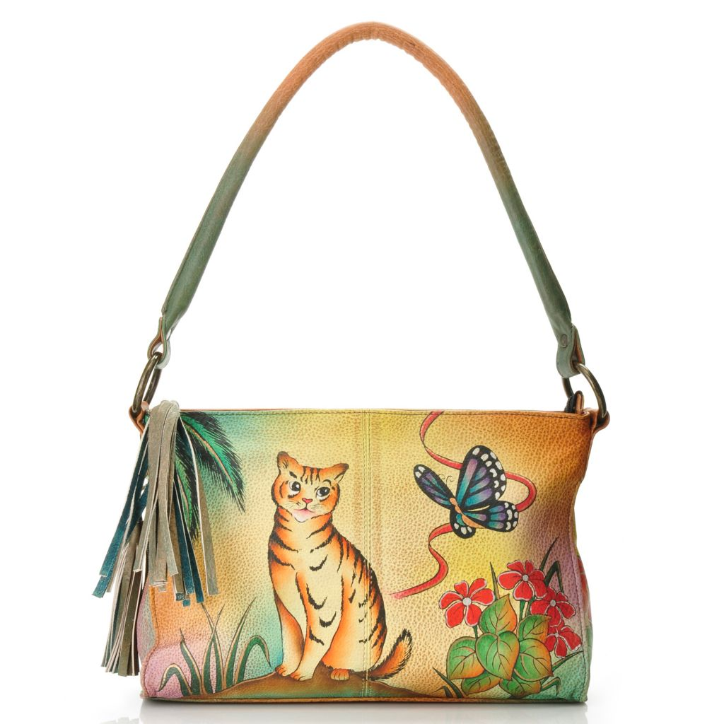 709-818 - Anuschka Hand-Painted Leather Tassel Detailed Shoulder Bag