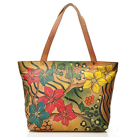 709-918 - Anuschka Zip Top Hand-Painted Leather Large Tote Bag w/ Case & Pouch