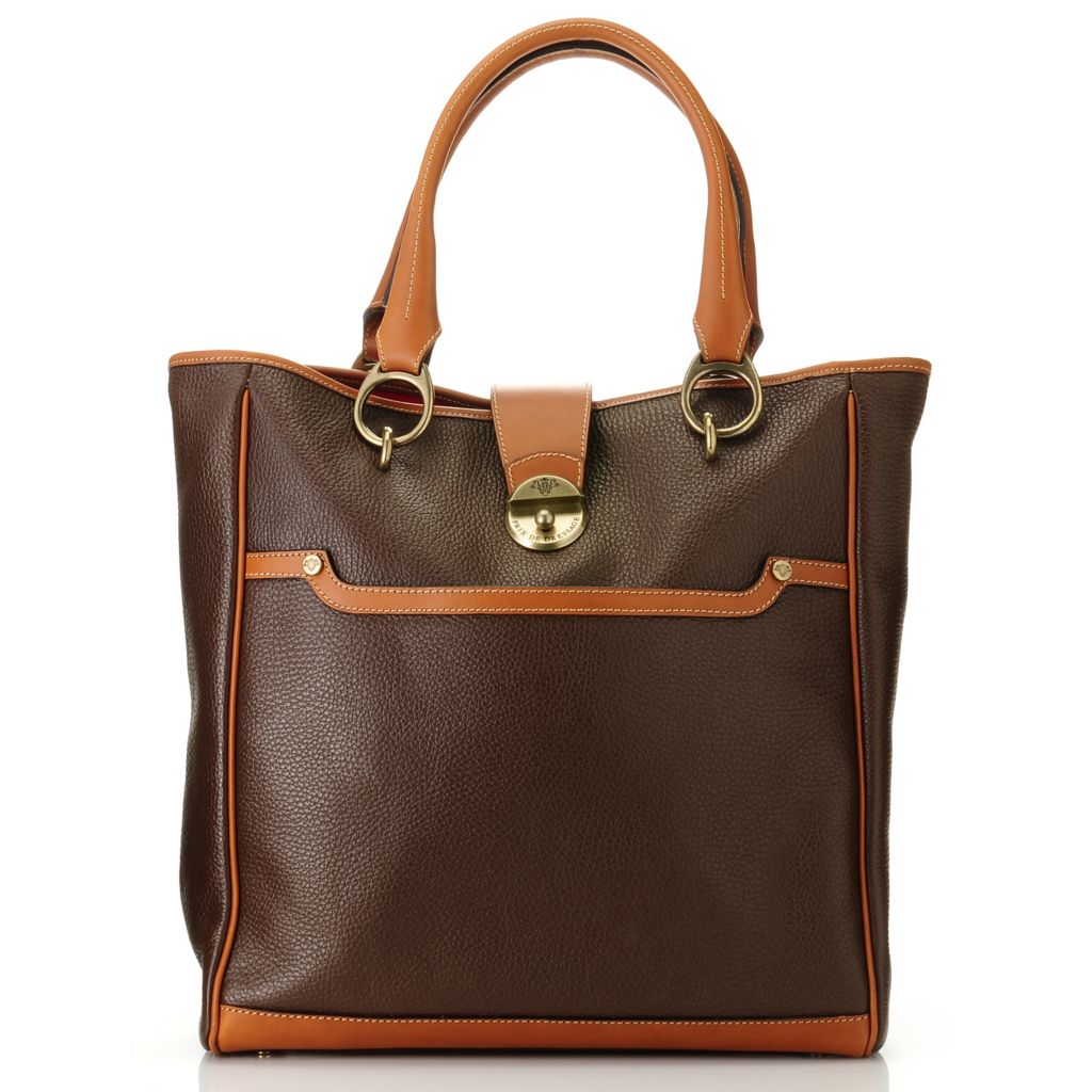 709-934 - PRIX DE DRESSAGE Leather Double Handle Tote Bag w/ Shoulder Strap